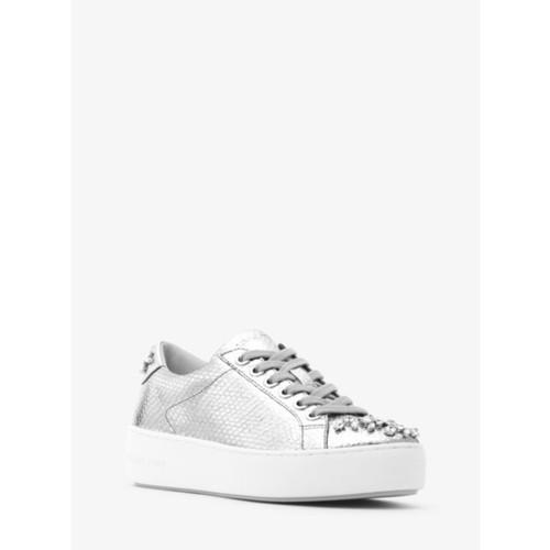 Poppy Metallic Embossed-Leather Sneaker