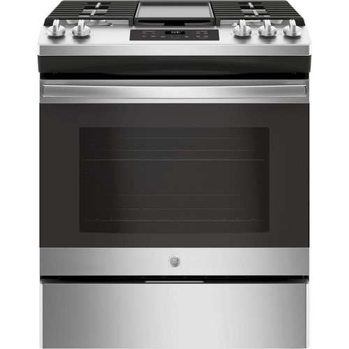 GE 5.0 cu. ft. Slide-In Gas Range with Steam Clean Oven in Stainless Steel