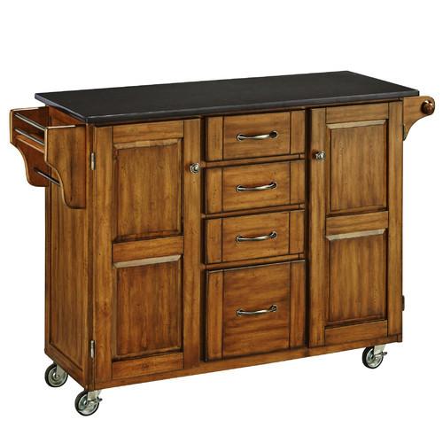 Home Styles Large Kitchen Cart, Black / Black Granite Top