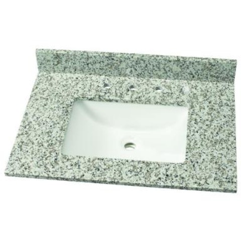 Home Decorators Collection 31 in. W Granite Single Vanity Top in Blanco Taupe with White Basin