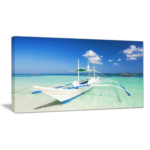 Boat in Blue Sea Water - Seashore Canvas Wall Artwork