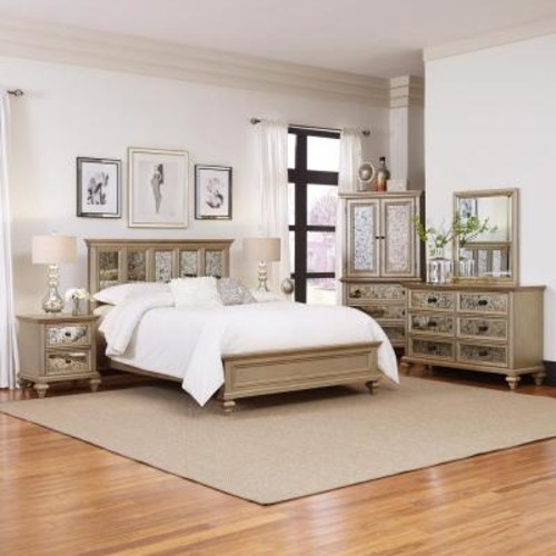 Home Styles Visions 5-Piece Silver Gold Champagne Finish King Bedroom Set