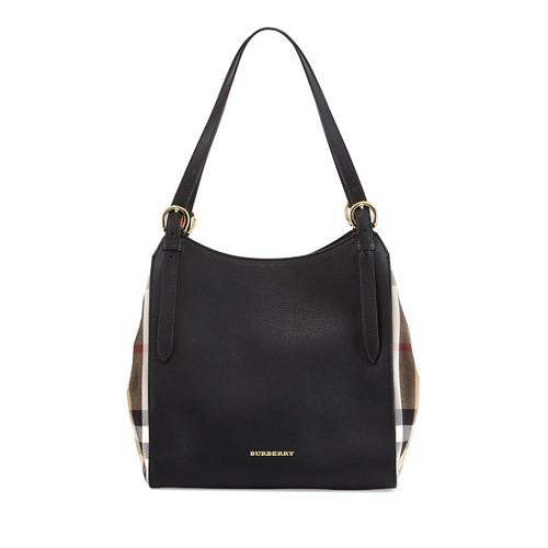 BURBERRY Leather Shoulder Tote Bag, Black