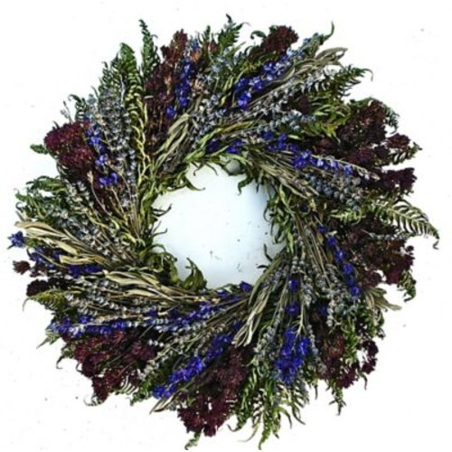 Dried Flowers and Wreaths LLC 22'' Herbal Blues Wreath