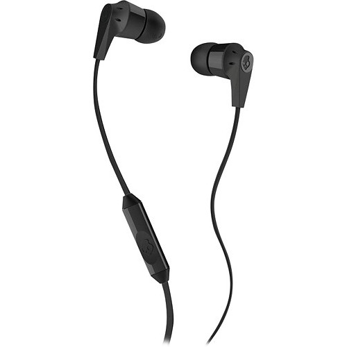 Skullcandy Ink'd 2.0 Noise-Isolating Earbud with In-Line Microphone and Remote, Tangle-Reducing Flat Cable, Supreme Sound with Powerful Bass, Natural Vocals, and Precision Highs [Black]