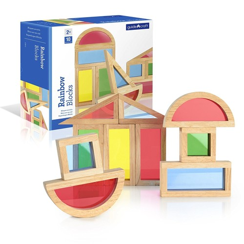Guidecraft Rainbow Blocks Set - 10 Pcs. Kids Learning & Educational Toys, Stacking Blocks [Multicolor, None]