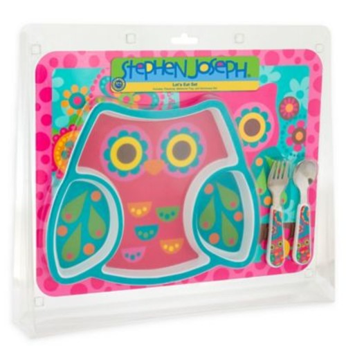 Stephen Joseph 4-Piece Owl Mealtime Set in Pink