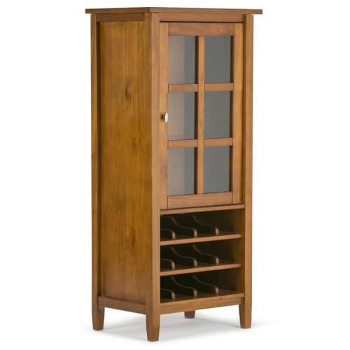 Simpli Home 12-Bottle Honey Brown Bar Cabinet