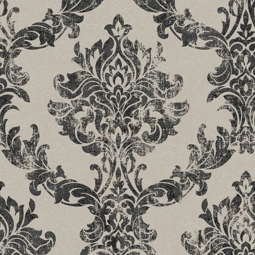 Graham & Brown Charcoal and Gold Opal Damask Wallpaper