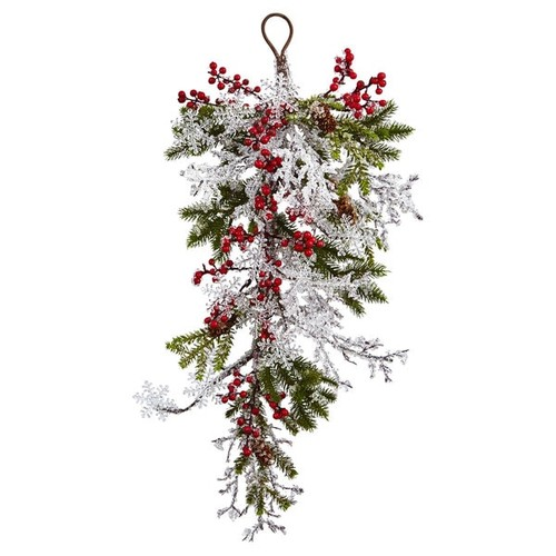 Nearly Natural Silk 26-inch Berry, Pine and Snowflake Teardrop