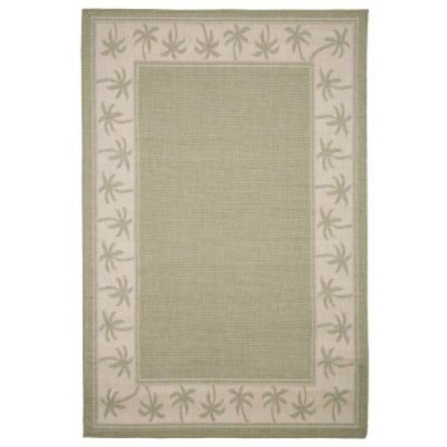Lavish Home Palm Trees Green 5 ft. x 7 ft. 7 in. Indoor/Outdoor Area Rug
