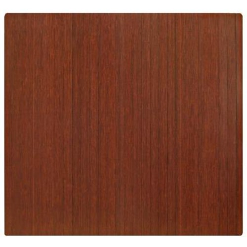 Anji Mountain Standard Dark Brown Mahogany 48 in. x 52 in. Bamboo Roll-Up Office Chair Mat without Lip