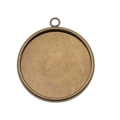Antiqued Brass Large Round Bezel Pendant - 25.5mm Diameter (1)