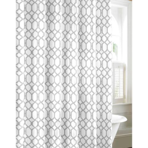 Sweet Jojo Designs Grey/ White Trellis Shower Curtain - Shower Curtain