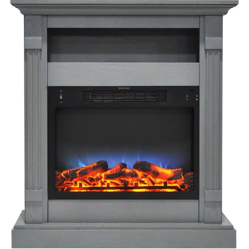 Cambridge Sienna 34 in. Electric Fireplace w/ Multi-Color LED Insert and Gray Mantel