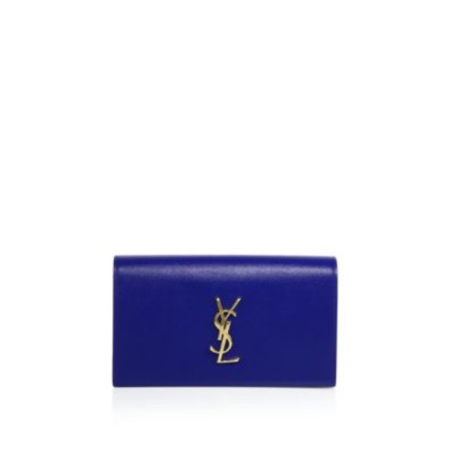 SAINT LAURENT Small Textured Leather Monogram Clutch