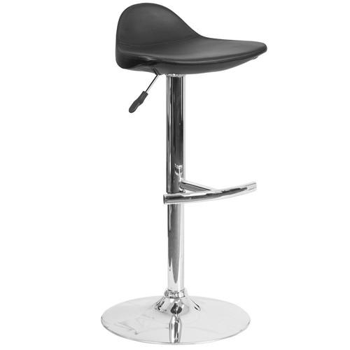 Flash Furniture Adjustable Height Black Cushioned Bar Stool