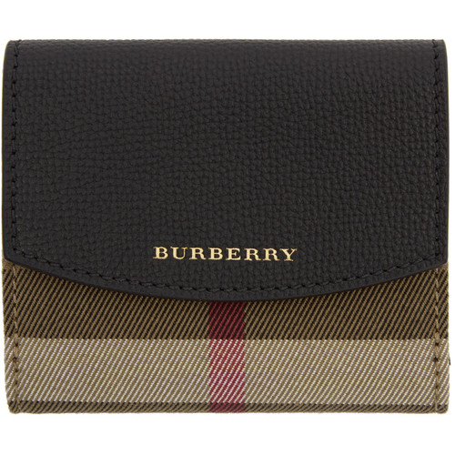BURBERRY Black Luna House Check Derby Wallet