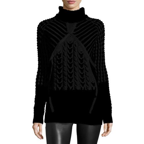 PRABAL GURUNG Two-Tone Chunky Turtleneck Sweater, Black/White