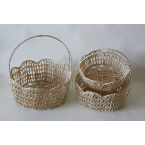 DestiDesign 3 Piece Crochet Basket Set