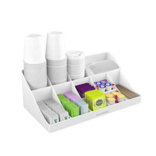 Mind Reader Pioneer 11-Compartment Coffee Condiment Organizer in White