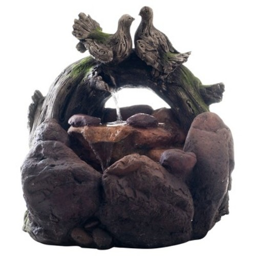 Outdoor Water Fountain With Cascading Stone Waterfall, Wood Logs, Doves and Soothing Sound for Decor on Lawn, Garden and Patio By Pure Garden [Doves]
