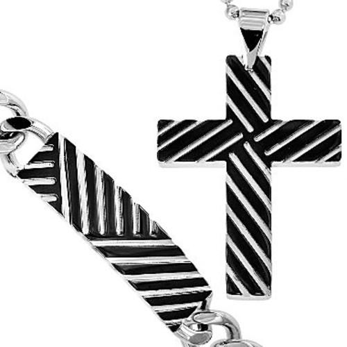 Two-Tone Stainless Steel Cross Pendant Necklace & Bracelet