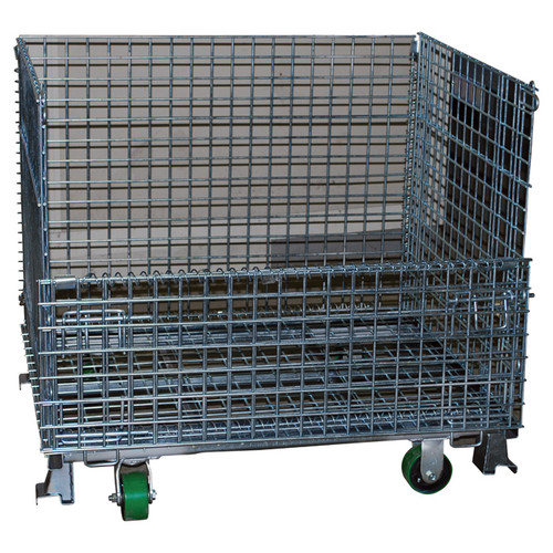 Atlas Collapsible Wire Mesh Extra-Large Basket with Casters  4,000-Lb. Capacity, Model# W-2-404842-CS