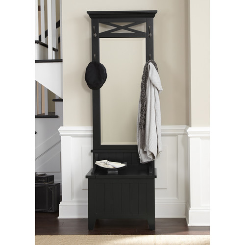 Hearthstone Rustic Black Mirrored Hall Tree With Bench Storage