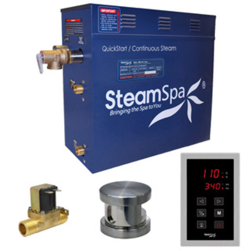 SteamSpa Oasis 6 KW QuickStart Steam Bath Generator Package with Built-in Auto Drain in Brushed Nickel