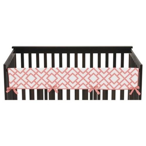Sweet Jojo Designs Long Crib Rail Guard Cover - White & Coral Mod Diamond