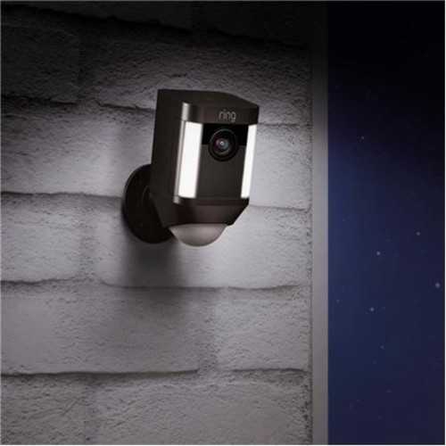 Ring Spotlight Wire-Free Outdoor Camera, Battery Operated, Black
