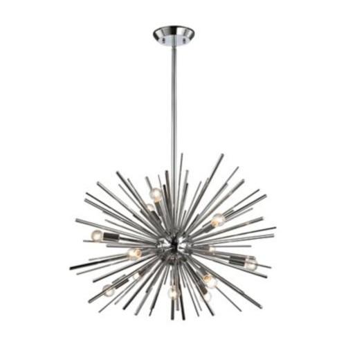 Diamond Lighting Starburst 12-Light Pendant in Chrome