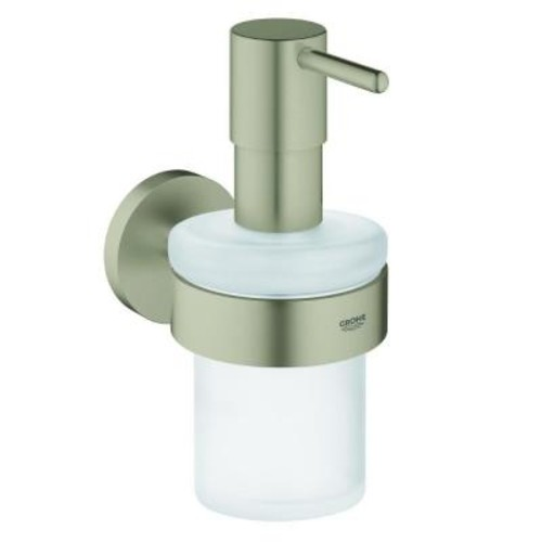 GROHE Essentials Wall-Mounted Soap Dispenser with Holder in Brushed Nickel InfinityFinish