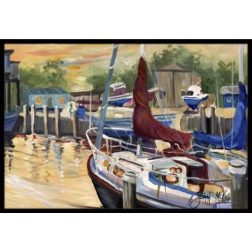 Caroline's Treasures New Sunset Bay Sailboat Doormat; 1'6'' x 2' 3''