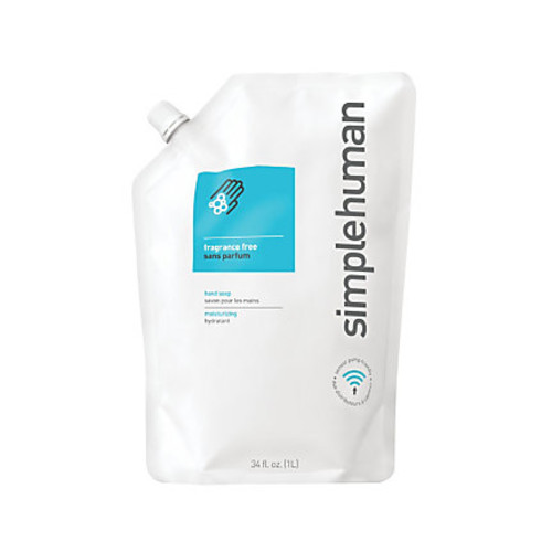simplehuman Moisturizing Liquid Hand Soap Refill Pouches, Fragrance-Free, 34 Fl Oz, Pack Of 6
