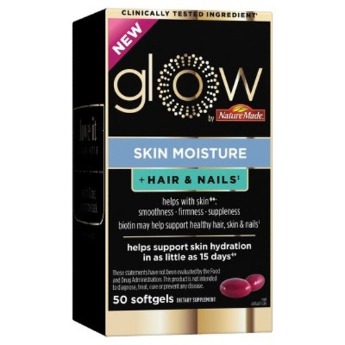 Glow by Nature Made Skin Moisture & Hair & Nails Dietary Supplement Softgels - 50ct