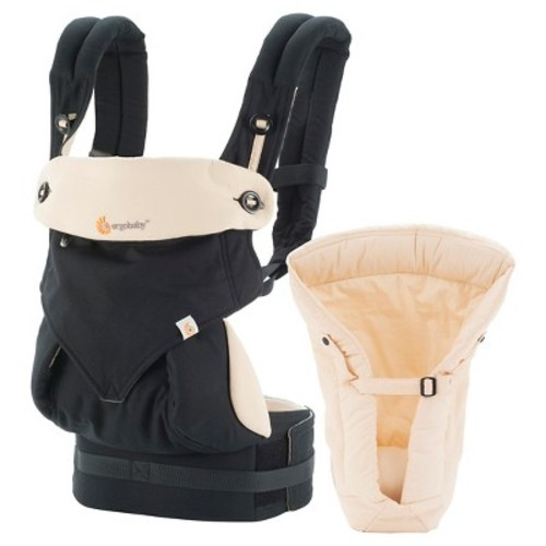 Ergobaby 360 All Carry Positions Ergonomic Baby Carrier with Bundle of Joy Infant Insert - Black/Tan