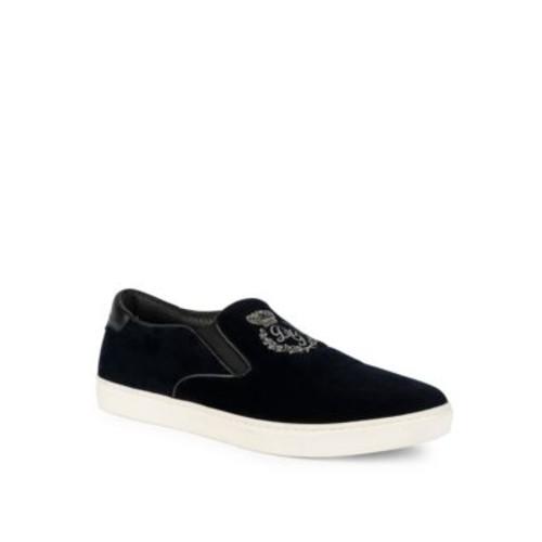 Embroidered Velvet Skate Slip-On Sneakers