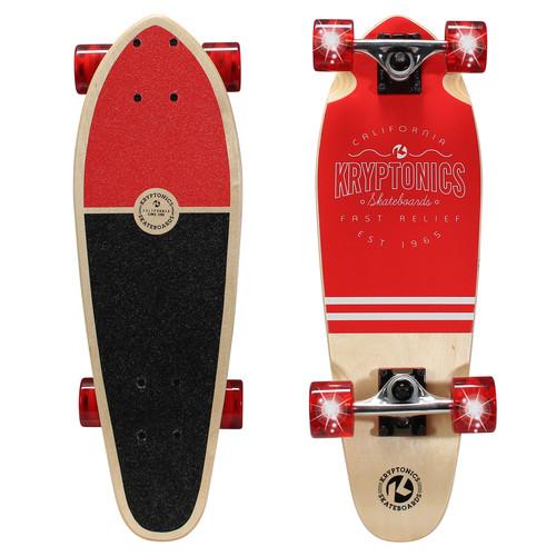 Kryptonics 24 inch Mini Cruiser Skateboard with Light-Up Wheels - Light House