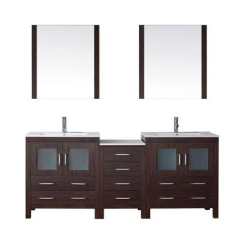 Virtu USA Dior 78 in. W x 18.3 in. D Vanity in Espresso with Ceramic Vanity Top in White with White Basin and Mirror