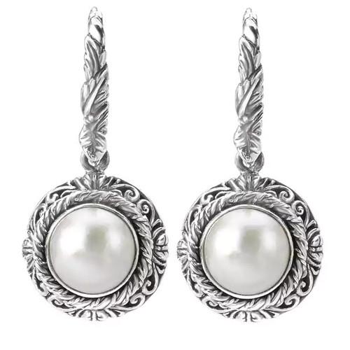 Avanti Sterling Silver White Mabe Pearl Earrings - Pearl Earrings