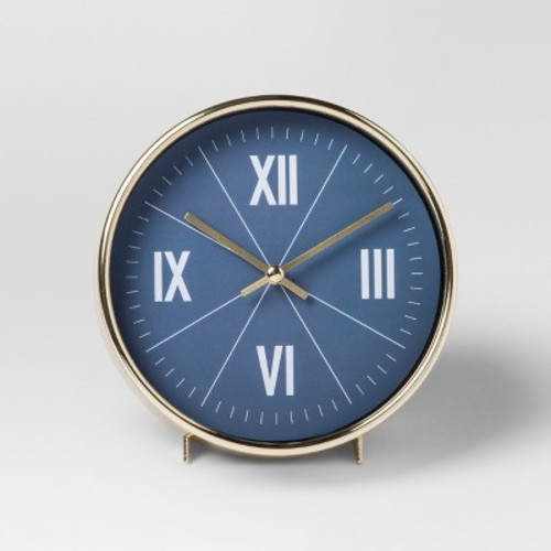 Decorative Table Top Clock - Blue/Brass - Project 62