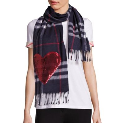 BURBERRY Sequined Heart Giant Check Cashmere Scarf