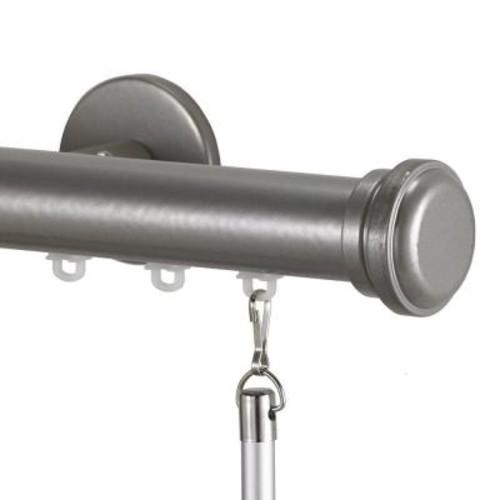 Art Decor Tekno 25 Decorative 120 in. Traverse Rod in Antique Silver with Empire Finial