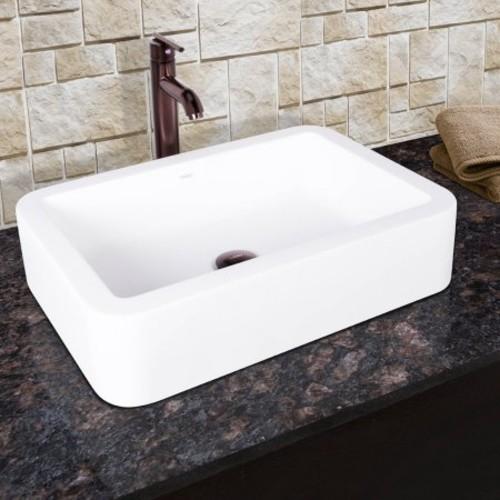 VIGO Navagio Matte Stone Vessel Sink and Seville Bathroom Vessel Faucet in Oil Rubbed Bronze