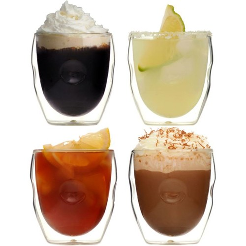 Ozeri Moderna Artisan Series Double Wall 8 oz Beverage Glasses by - Set of 4 Drinking Glasses