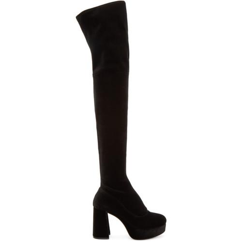 MIU MIU Black Velvet Platform Over-The-Knee Boots
