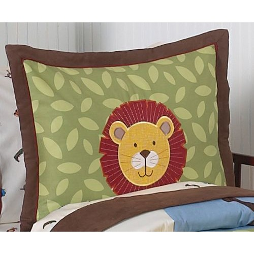 Sweet Jojo Designs Jungle Time Collection Standard Pillow Sham