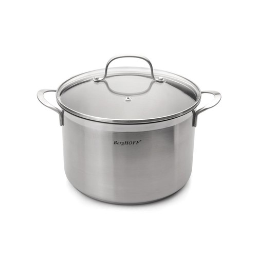 BergHOFF Bistro 6.3 Qt. Stainless Steel Stockpot with Glass Lid